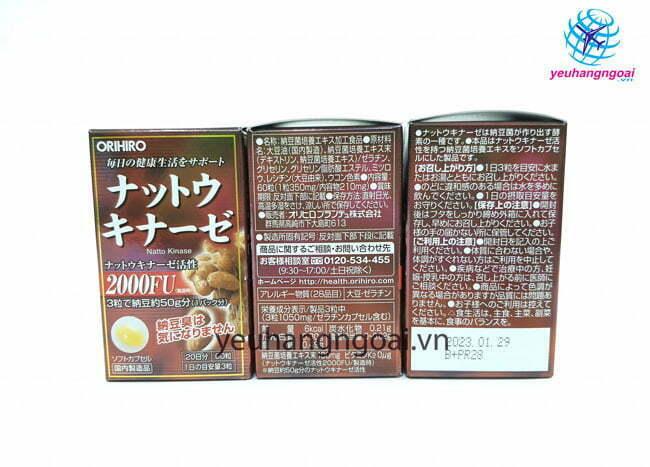 Hình Thật Mặt Trước Sau Thuốc Chống đột Quỵ Nhật Bản Orihiro Nattokinase 2000fu