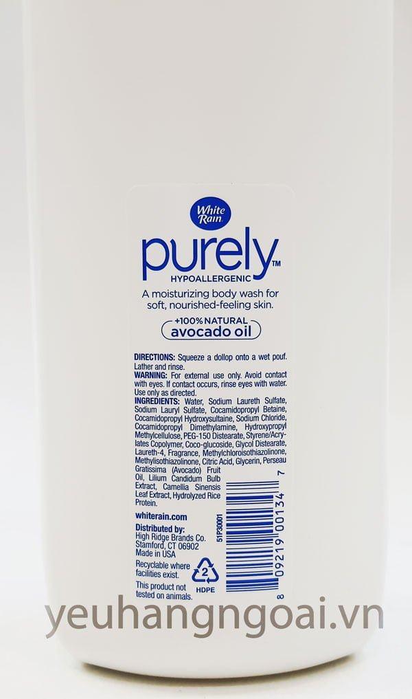 Hình Thật Thành Phần Sữa Tắm White Rain Purely Avocado Oil 946ml Hàng