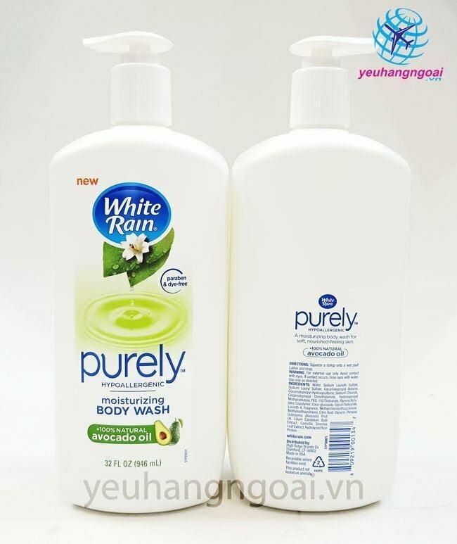 Hình Thật Trước Sau Sữa Tắm White Rain Purely Avocado Oil 946ml Hàng Mỹ