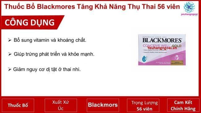 Công Dụng Thuốc Blackmors Tăng Khả Năng Thụ Thai