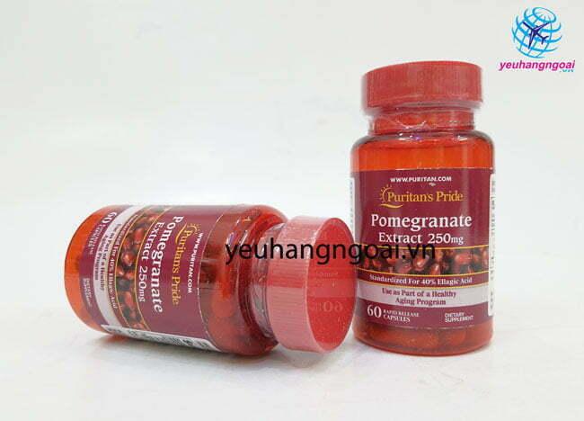 Hình Thật Mặt Trước Viên Uống Tinh Chất Lựu Pomegranate Extract 250mg
