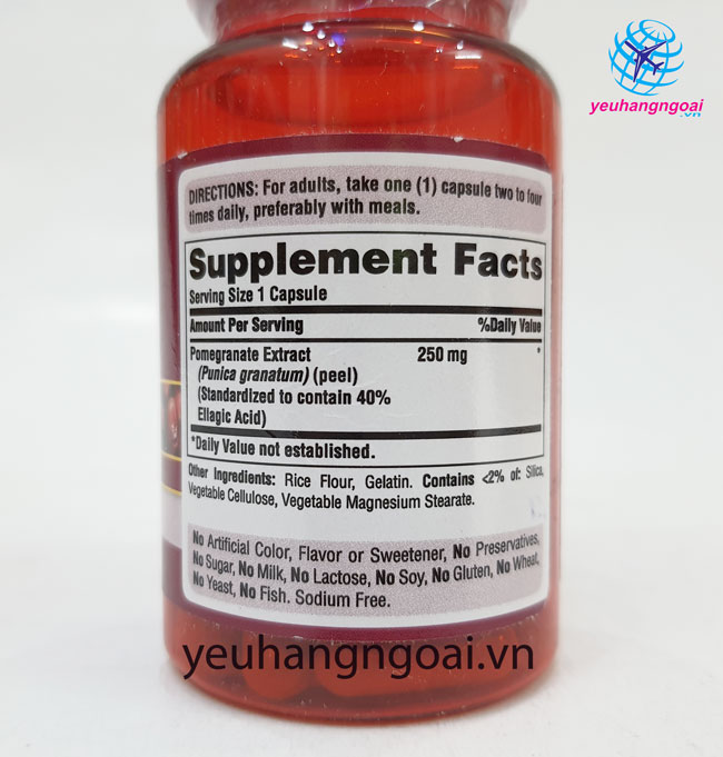 Hình Thật Thành Phần Viên Uống Tinh Chất Lựu Pomegranate Extract 250mg