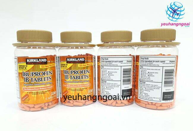 Hình Thật Mặt Trước Sau Ibuprofen 200mg, 500 Viên Của Kirkland Mỹ.