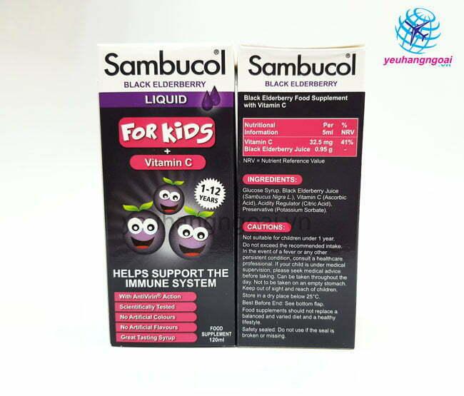 Hình Thật Mặt Trước Sau Siro Sambucol Vitamin C Tăng đề Kháng Cho Bé