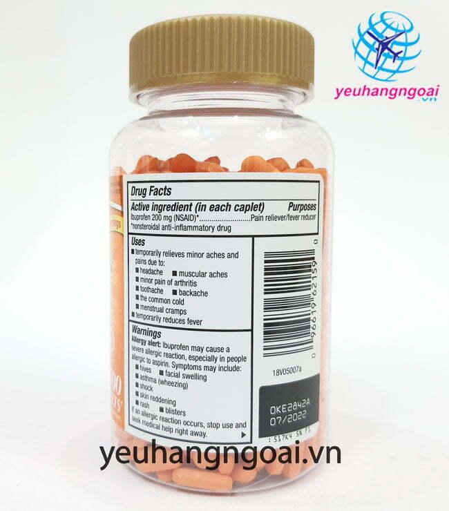 Hình Thật Thành Phần Ibuprofen 200mg, 500 Viên Của Kirkland Mỹ.