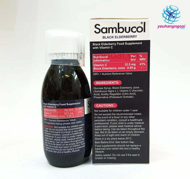 Hình Thật Thành Phần Siro Sambucol Vitamin C Tăng đề Kháng Cho Bé
