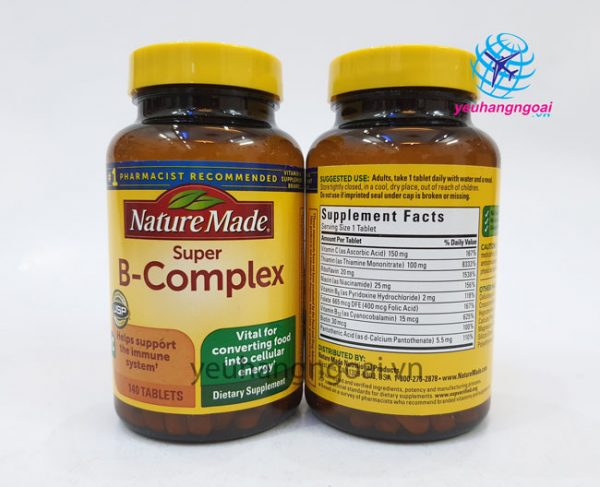 Hình Thật Mặt Trước Sau Viên Uống Bổ Sung Vitamin Super B Complex Nature Made Mỹ 140 Viên