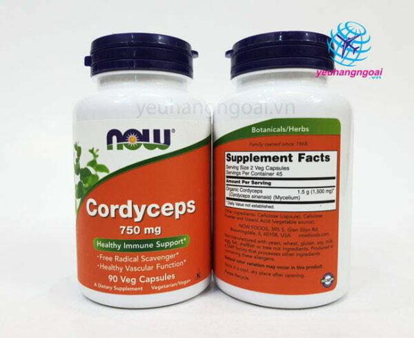 Hình Thật Mặt Trước Sau Viên Uống Đông Trùng Hạ Thảo Cordyceps Now 90 Viên