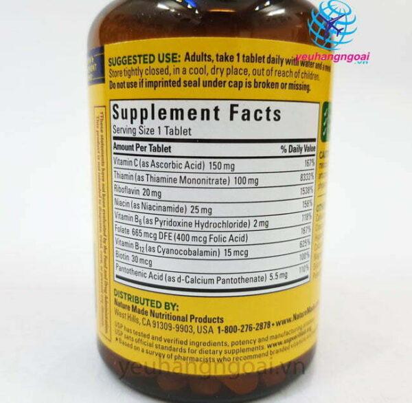 Hình Thật Thành Phần Viên Uống Bổ Sung Vitamin Super B Complex Nature Made Mỹ 140 Viên